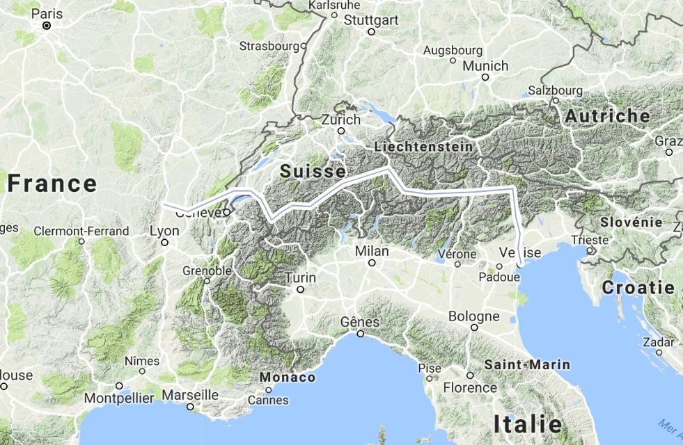 Le trajet en voyage à vélo de Venise à Mâcon